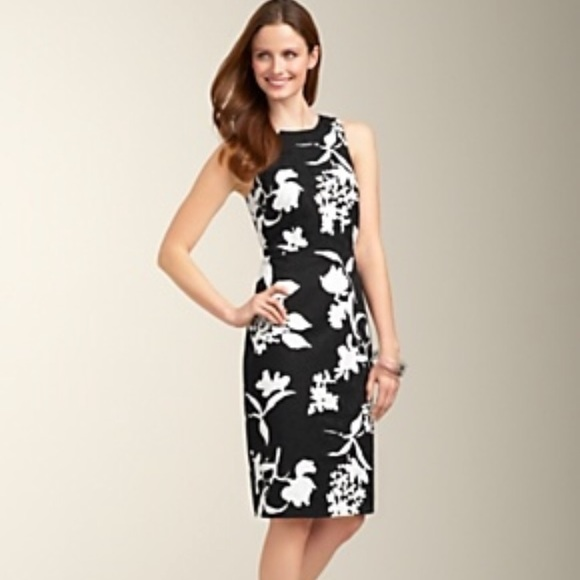 56d80ae18c5 Talbots black white floral criss cross back dress